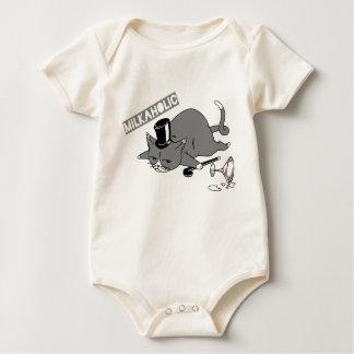 """Body Para Bebê Baron Chalaça Ilustração do gato de """"Milkaholic"""""""