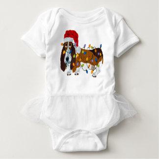 Body Para Bebê Basset Tangled em luzes de Natal
