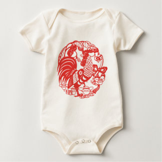 Body Para Bebê Bebê 2017 do ano do galo de Papercut do chinês