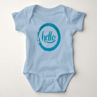 Body Para Bebê Bebê azul do curso da escova do círculo olá!