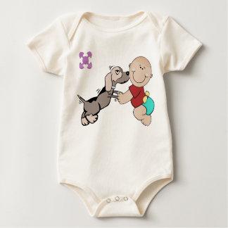 Body Para Bebê Bebê e amigo do cão em Creepers do bebê