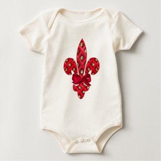 Body Para Bebê Bebê orgânico da flor de lis vermelha do feriado
