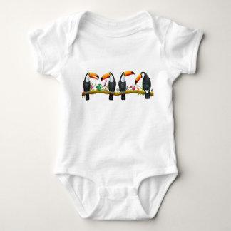 Body Para Bebê Bebê tropical dos pássaros de Toucan uma parte
