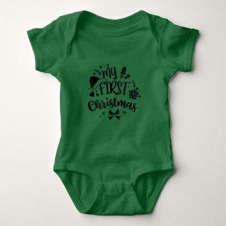 Body Para Bebê Bebês do bebê meu primeiro ø feriado do Natal