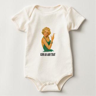Body Para Bebê beije o divertimento da bandeja de cinza