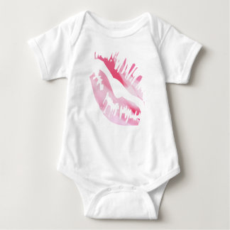 Body Para Bebê Beijo cor-de-rosa da aguarela