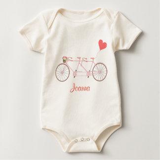Body Para Bebê Bicycle com flores cor-de-rosa e ouça o Bodysuit