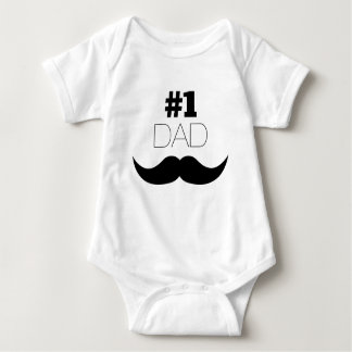 Body Para Bebê Bigode do preto do pai #1 - número um