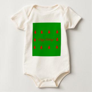 Body Para Bebê Boas festas árvore de Natal verde e vermelha