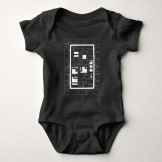 """Body Para Bebê Body bebé """"Labirinto de quadrados"""" preto e branco"""