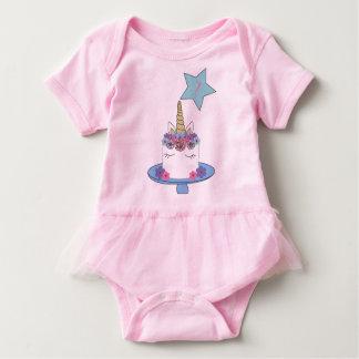 Body Para Bebê Body com tutu de 1º aniversário - Bolo Unicórnio