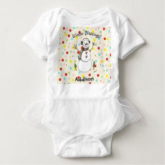 Body Para Bebê Bodysuit adorável do bebê do boneco de neve das