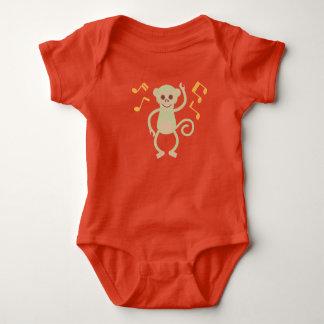 Body Para Bebê Bodysuit alaranjado do jérsei do bebê do macaco da