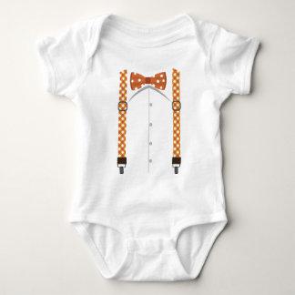 Body Para Bebê Bodysuit alaranjado do laço & dos Suspenders