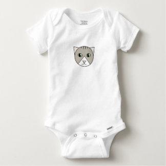 Body Para Bebê Bodysuit Cinza-e-Branco do gatinho do gato malhado