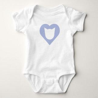 Body Para Bebê Bodysuit com coração e gato dos azuis bebés