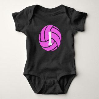Body Para Bebê Bodysuit cor-de-rosa do bebê do número do jérsei
