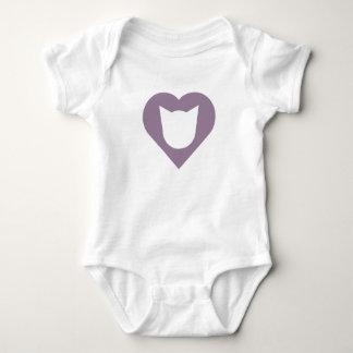 Body Para Bebê Bodysuit do bebê com gato e coração Meio-Roxo