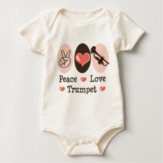 Body Para Bebê Bodysuit do bebê da trombeta do amor da paz uma