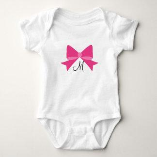 Body Para Bebê Bodysuit do bebê do monograma do arco do rosa