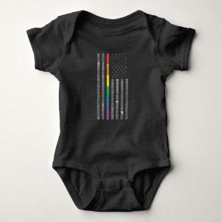 Body Para Bebê Bodysuit escuro do bebê da bandeira americana do
