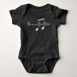 Body Para Bebê Bodysuit escuro do bebê do dueto (notas)