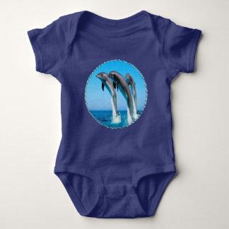 Body Para Bebê Bodysuit náutico do bebê do oceano dos golfinhos