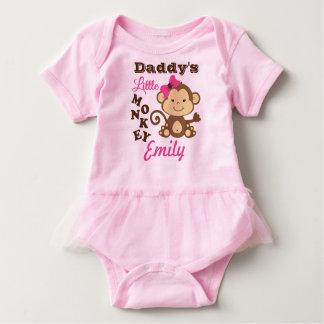 Body Para Bebê Bodysuit pequeno do rosa do macaco do pai com tutu