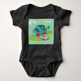 Body Para Bebê Bodysuit suburbano retro do bebê da casa