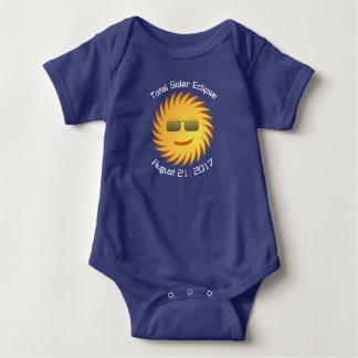 Body Para Bebê Bodysuit total do bebê do eclipse solar - azul