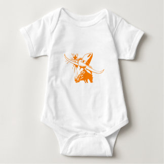 Body Para Bebê Boi alaranjado de Longhorn com chapéu de vaqueiro