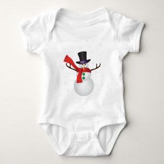 Body Para Bebê Boneco de neve do Natal com ilustração dos flocos