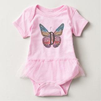 Body Para Bebê Borboleta com letra D