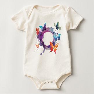 Body Para Bebê Borboletas Pastel da aguarela em torno de um anel