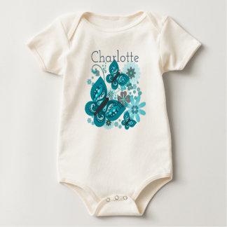 Body Para Bebê Borboletas & veste orgânica das flores (azul)