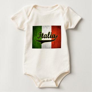 Body Para Bebê Branco de vidro preto de Italia da bandeira