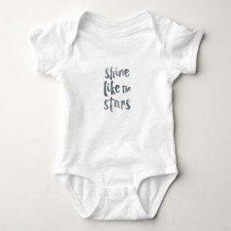 Body Para Bebê Brilho como as estrelas - Motivationa metálico de