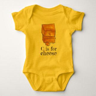 Body Para Bebê C é para a inicial C do alfabeto do queijo Cheddar