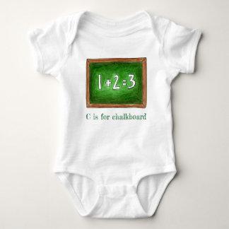 Body Para Bebê C é para a matemática ABCs da ardósia da escola do
