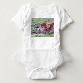 Body Para Bebê Cabeça da vitela escocesa recém-nascida marrom do