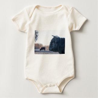 Body Para Bebê Cabeça do escocês escocês do touro preto com vaca