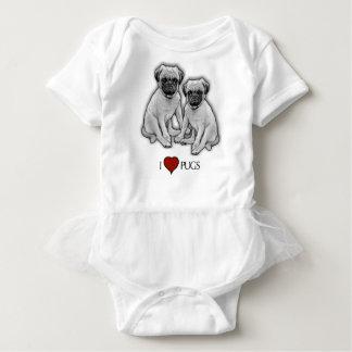 Body Para Bebê Cães do Pug, eu amo Pugs, arte do lápis, coração