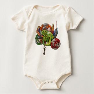 Body Para Bebê camaleão e cristais