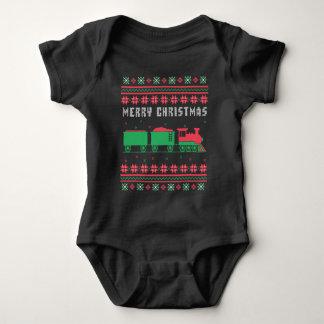 Body Para Bebê Camisola feia do Natal da estrada de ferro do trem
