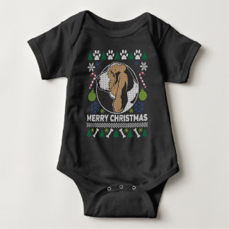 Body Para Bebê Camisola feia do Natal da raça do cão de Basset
