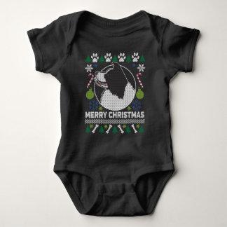 Body Para Bebê Camisola feia do Natal da raça do cão de border