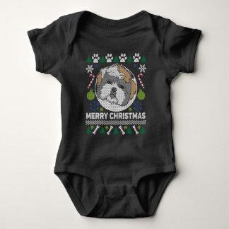 Body Para Bebê Camisola feia do Natal da raça do cão de Shih Tzu