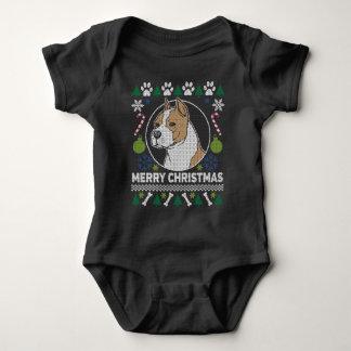 Body Para Bebê Camisola feia do Natal da raça do cão de Stafford