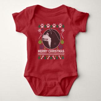 Body Para Bebê Camisola feia do Natal da raça do cão do Malamute