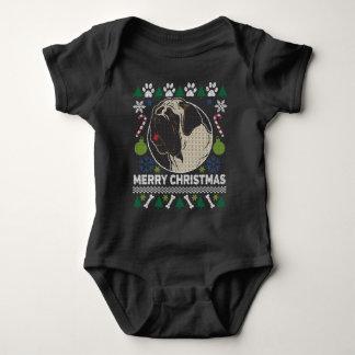 Body Para Bebê Camisola feia do Natal da raça do cão do Mastiff